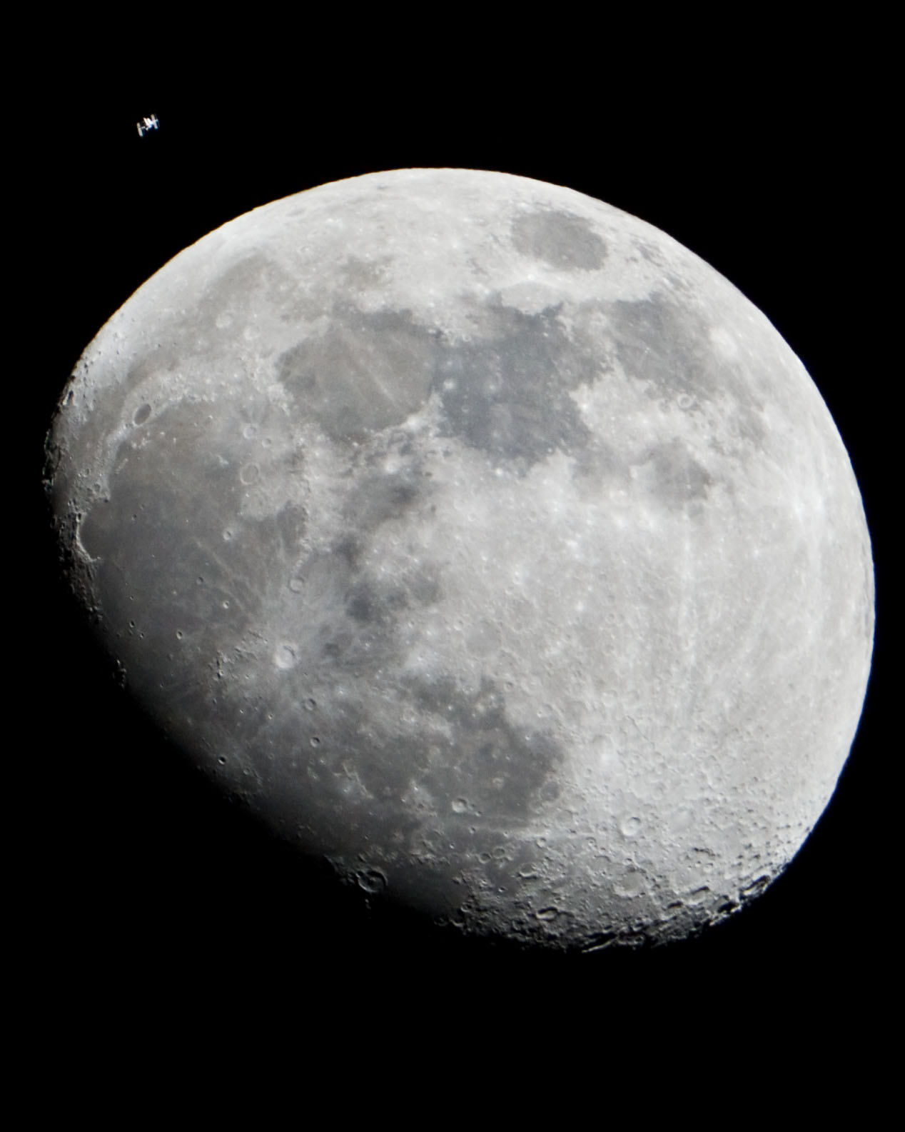 The Moon And The International Space Station