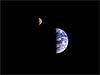 The Galileo spacecraft's view of the moon and Earth
