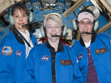 SOFIA Airborne Astronomy Ambassador Margaret Peggy Piper (center) with program manager Pamela Harman and teacher Kathleen Fredette.