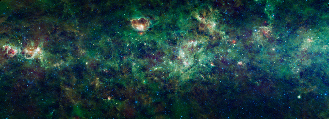 Section of the Milky Way galaxy in infrared light