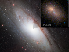 This is a Hubble image of the 100 million solar mass black hole at the hub of the neighboring spiral galaxy M31, or the Andromeda galaxy.