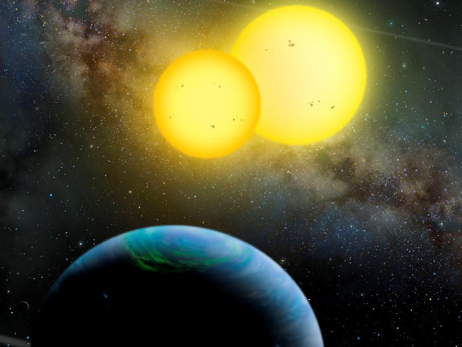 An artist's rendition of the Kepler-35 planetary system.