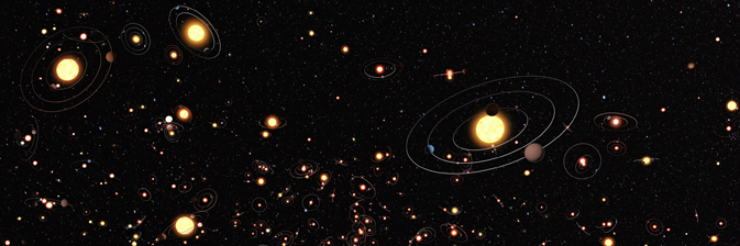 Artist's illustration gives an impression of how common planets are around the stars in the Milky Way galaxy