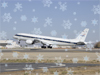 Image of NASA's DC-8 taking off with snowflakes overlaid.