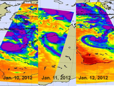 Tropical Storm Heidi's Temperature, Cloud Heights and Rainfall Grabbed by NASA Satellites