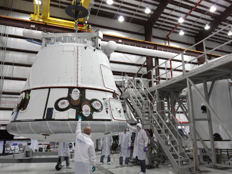 Dragon capsule is lifted.