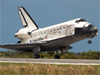 Space Shuttle Discovering landing at Kennedy Space Center