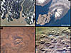Four images of geological features such as craters and a volcano
