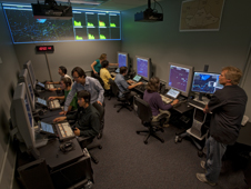 Airspace Operations Lab at NASA Ames. A simulation of ADS-B is being conducted.