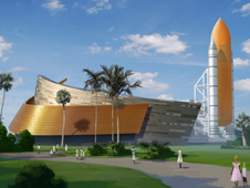 Artist rendering depicting external tank and twin solid rocket booster replicas at the Atlantis exhibit entrance