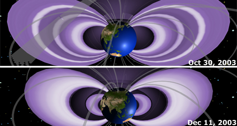 Animation of Earth's radiation belts following the Halloween Storm of 2003 shows them swelling and shrinking over time.