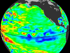 Sea surface heights in the Pacific Ocean from NASA's Jason-2 satellite