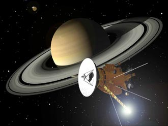 Artist's concept of Cassini and Saturn
