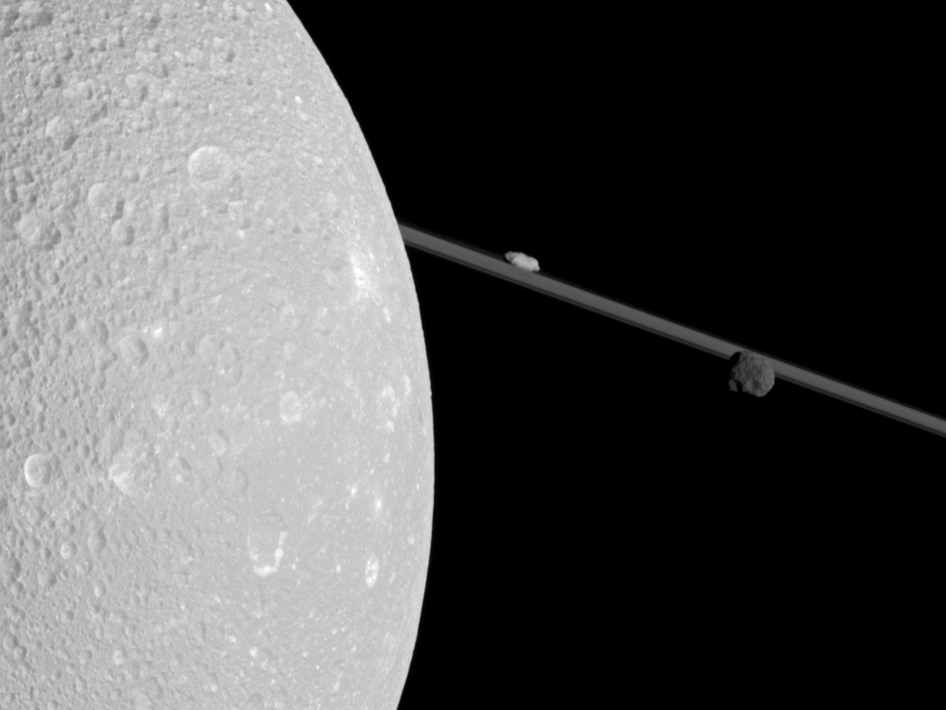 Saturn's moon Dione, Epimetheus and Prometheus