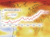 composite image of global temperature differences map and line graph