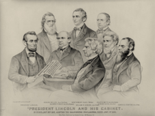 President Lincoln and his cabinet in council adopting the Emancipation Proclamation.