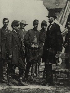 Abraham Lincoln on the battlefield at Antietam, Maryland, October 3, 1862.