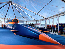 The full-size, full-length Bloodhound SSC show car unveiled at Farnborough in July 2010.