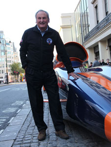 Project Director Richard Noblestands with the BloodhoundSSC show car outside Coutts Bank in TheStrand, London.