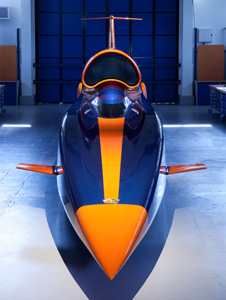 The Bloodhound SSC show car at the Bloodhound Technical Center.