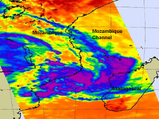 NASA's Aqua satellite captured an infrared look at the temperatures of the clouds in Tropical Cyclone Funso on January 19, 2012 at 10:59 UTC (5:59 a.m. EST).
