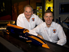 Richard Noble and Andy Green with a model of Bloodhound SSC.