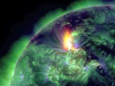 Still from video of Jan 19, 2012 long duration solar flare and coronal mass ejection