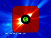 Three instruments on SOHO spacecraft reveal the flare and CME traveling off the Sun