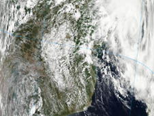 NASA's Aqua satellite captured a visible look at the clouds in Tropical Cyclone Funso, January 22 at 1130 UTC (6:30 a.m. EST) as it was pulling away from the Mozambique coast, and noticed clouds were becoming more organized.