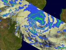 The TRMM had a good view of Funso battering the Mozambique coast when it flew over on January 23, 2012