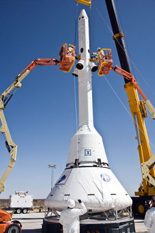 The Orion capsule was fitted with a LAS for a test abort.