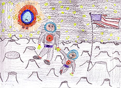 Drawing of an adult and child walking on the moon at sunset by Nicole