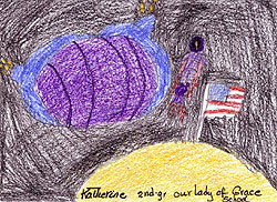 Drawing of a spacecraft liftoff from the planet Venus by Katherine