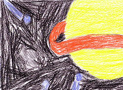 Drawing of a comet and the planet Saturn by Savannah