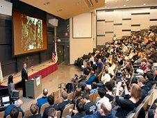 Two hundred high school students pack an auditorium at the Massachusetts Institute of Technology in Cambridge Jan. 23 for the Zero Robotics SPHERES competition to program miniature satellites aboard the International Space Station. (MIT/Litant)