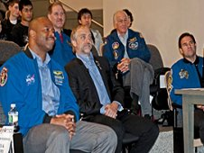 Current and former astronauts on hand for the third annual Zero Robotics SPHERES Challenge competition included, from left, Leland Melvin; John Grunsfeld; Richard Garriott, who traveled to the space station aboard a Russian Soyuz capsule; Jeff Hoffman; and Greg Chamitoff. The astronauts shared their space experiences with the student audience. (MIT/Litant)