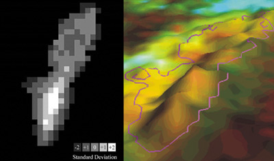A Landsat pixel based map showing where the most change has been detected on Caryfort Reef between 1984 and 1996. Right: The spine of elevation shows where the most change has occurred, for Carysfort this change has been correlated with coral decline.