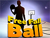 The words Free Fall Ball in front of a graphic of a basketball player next to a goal