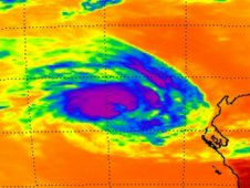 AIRS captured infrared images and cloud temperatures of Iggy on Jan. 31 at 0623 UTC (1:23 a.m. EST).