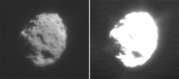 Black and White image of the battered nucleus of comet Wild 2