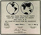 Sign left on the moon has a picture of the Earth's eastern and western hemispheres