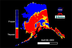 Color image map showing the parts of Alaska frozen and thawed in April 2000. Most of the southern half of the state are thawed.