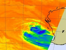 AIRS captured infrared images and cloud temperatures of Tropical Cyclone Iggy on Feb. 1 at 1805 UTC