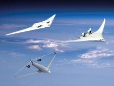 Three artist concept vehicles flying in the sky in formation.