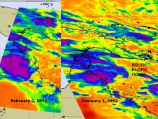 These 2 AIRS images show the movement of the clouds and showers associated with System 95P (purple and blue).