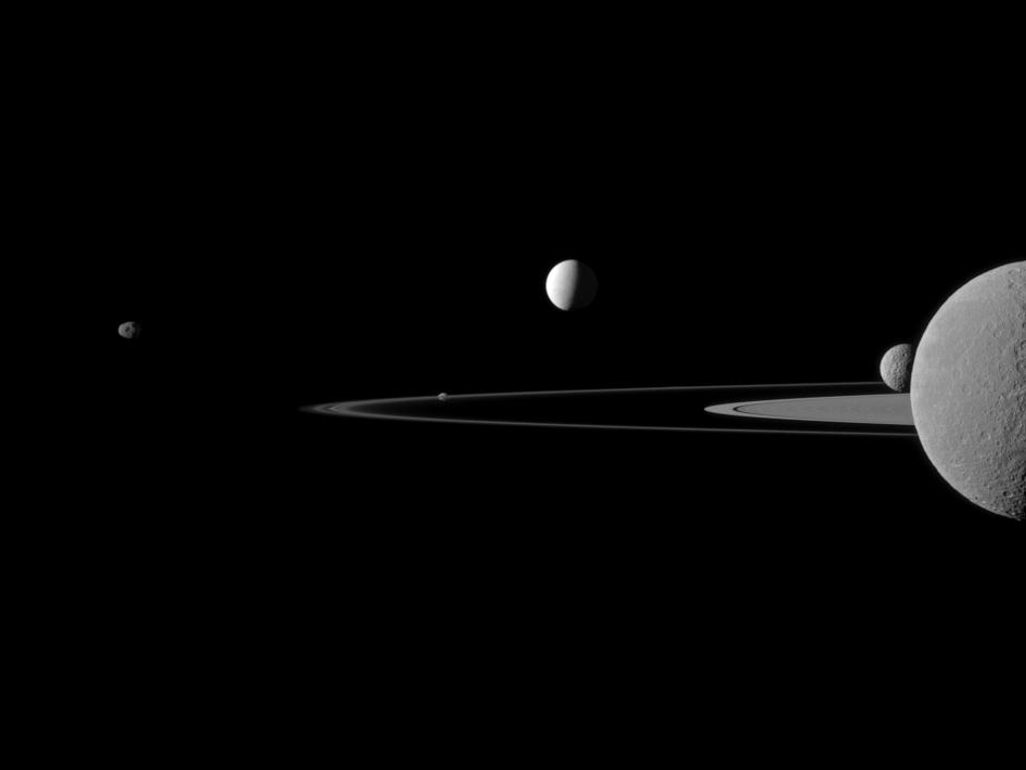 A quintet of Saturn's moons