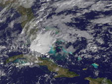 Visible image of System 90L in the eastern Gulf of Mexico on February 6, 2012.