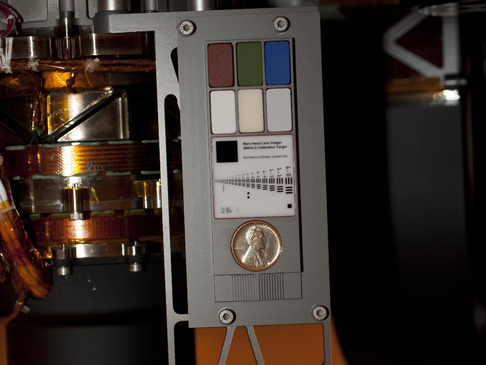 Contact instrument calibration targets on Mars rover Curiosity