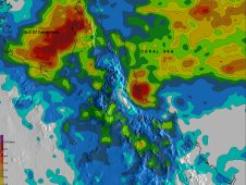 TRMM rainfall estimates for the state of Queensland are shown for the period from January 27 to February 6, 2012.