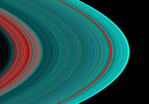 The best view of Saturn's rings in the ultraviolet indicates there is more ice toward the outer part of the rings